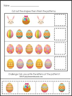 This fun Easter pattern match free printable will help your child practice pattern and celebrate the holiday with fun! K Crafts, Bunny Crafts, Easter Crafts, Crafts For Kids, Preschool Learning Activities, Easter Activities, Easter Printables, Free Printables, Pattern Matching