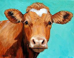 Farm Paintings - Guernsey Cow on LIght Teal No Horns  by Dottie Dracos