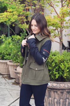 Caroline styles Veronica Beard's Skyline Army Jacket + Instagram giveaway (12/14-12/15). Follow @houseofharper on instagram for more details. << HOUSE of HARPER
