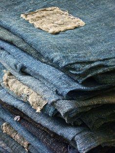 Indigo färgade linne tyger Vackert