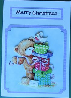 Used a non traditional colour scheme for this cute bear with presents.