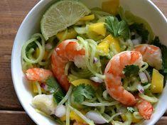 Spiralized Cucumber Shrimp Salad with Honey Lime Dressing (AIP/Paleo/Refined Sugar-Free) * Lichen Paleo, Loving AIP