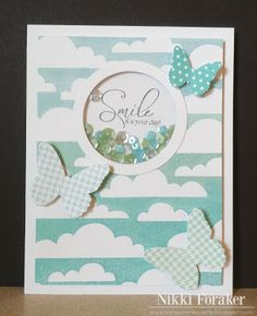 Smile it's your day! Stencil bkgrnd, Use MB punch with dots around it and stamp inside?