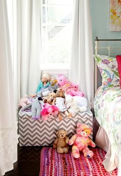 @Brittany McGrain and @Crystal McGrain  Soft chevron storage box!     Tween bedroom makeover with Land of Nod