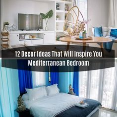 12 Decor Ideas That Will Inspire You Mediterranean Bedroom In Blue The Modern Mediterranean style has influences from Spain, Italy, Greece, . Mediterranean Bedroom, Mediterranean Style, Easy Home Decor, Entryway Tables, Decor Ideas, Decorating, Living Room, Modern, Diy