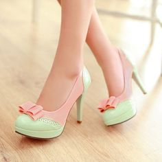 8f8af3e94ab Ladies Lolita Bow Sweet Candy Platform High Heel Leather Pumps Shoes All US  Size