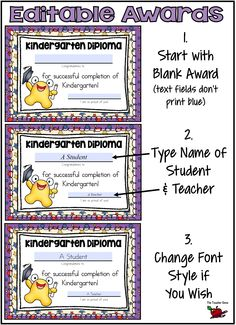 So easy to customize these cute End of Kindergarten certificates and invitations. Lots of variations. Click here to have a try yourself! ($)