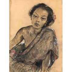 Adrien Jean Mayeur de Merprés (1880-1958) Portret van Ni Pollok, houtskool en aquarel met wit gehoogd op papier.