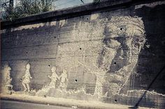 Creating incredible imagery from old, dusted, and dilapidated walls by chipping away at the surface, Alexandre Farto, akaVhils, has literally carved out his own medium. The artist recently completed this new piece in two days somewhere in Northern Spain.