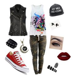 """""""Street Chic"""" by iamfearless156 on Polyvore featuring River Island, Converse, Lime Crime, Static Nails and Valentino"""