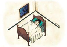 Criança que tem medo de dormir só.