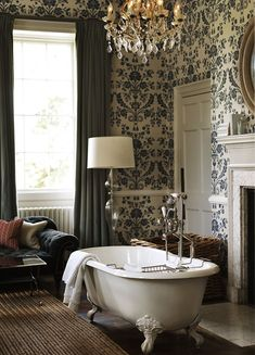 So romantic! Love the soaking tub in front of the fire. Could be heaven! Babington House via Stylejuicer.