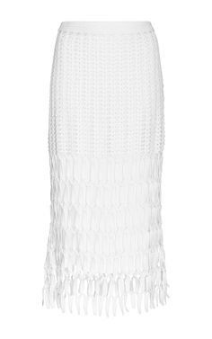 White Cotton Hand Crocheted Pencil Skirt by ROSETTA GETTY Now Available on Moda Operandi