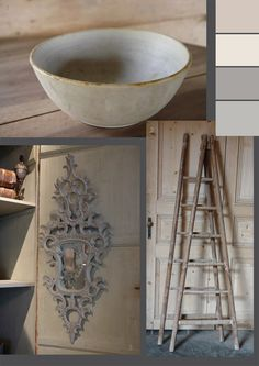pale chalky rustic colour palette #rustic #farmhouse #rococo #swedish #french #ladder #wood #floorboards #bowl