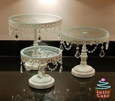 Crystal Cake Stands by .jellycake.co.uk via Flickr & Stunning! $29.99 plus free shipping...could also use with cupcakes ...