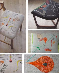 Embroidered bespoke upholstery by Sally Nencini