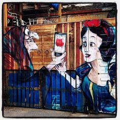 """Little Snow White"" and the Apple in Madrid, Spain #Schneewittchen #blancanieves #StreetArt #BrothersGrimm (Photo enric archivell)"