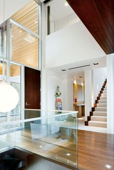 *Square pot lights !  Is that  a vent for a/c betwn the 2 sq. potlights??  Also: Nice lil sq. lights in hardwood floor.  Page Road Residence by ACTWO Architects