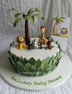 11 Amazing Jungle and Animal Baby Shower Cakes. Need inspiration for a baby shower? Enjoy these unique baby shower cakes featuring jungle animals. Jungle Theme Cakes, Jungle Theme Birthday, Safari Cakes, Jungle Party, Baby Birthday, Safari Food, Jungle Safari Cake, Jungle Cupcakes, Safari Birthday Cakes