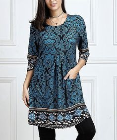 d4a40eec21 Look what I found on  zulily! Black Paisley Pocket Tunic - Plus Too