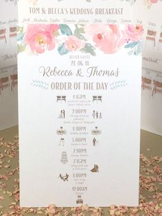 ORDER of the DAY Wedding Sign with cute ICONS fully customised ready to hang or free standing Wedding Stationary, Wedding Invitation Cards, Wedding Cards, Order Of The Day Wedding, Our Wedding, Wedding Order Of Events, Line Flower, Wedding Timeline, Space Wedding