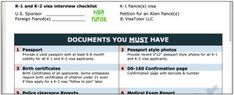The list of documents you need for a fiance K-1 visa interview approval. Things you must have, should have, and may need are listed. Download a free copy. Fiance Visa, K 1, Interview, Free