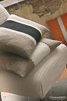 Sewing Pillows, Diy Pillows, Boho Pillows, Decorative Pillows, Throw Pillows, Cushion Inspiration, Showroom Interior Design, Casamance, Cushion Cover Designs