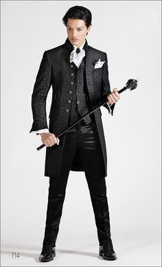 Abito da cerimonia uomo con giacca broccata nera