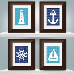 "Nautical Art Prints - Choose your Color and Pattern - Set of 4 - 8""x10"". $53.00, via Etsy."