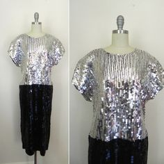NEW IN THE SHOP! Vintage 1989s Black/Silver Sequined Beaded Dress (38/32/36) http://ift.tt/1lP6fC1