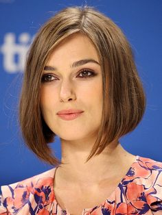 Keira Knightley  ~The actress side-parts a classic bob, which features graduated layers that are longest in the front. ~