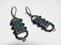 Beadwork Earrings  Cube Triangle & Round Beads  Gun by BohemianIce, $14.00