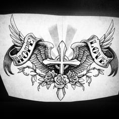 But I want it with darker wings Chest Tattoo Wings, Cross With Wings Tattoo, Wing Tattoo Men, Cool Chest Tattoos, Chest Piece Tattoos, Forarm Tattoos, Eagle Tattoos, Feather Tattoos, Body Art Tattoos
