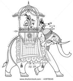 Vector illustration of a decorated Indian elephant Poster. Elephant Sketch, Elephant Poster, Elephant Illustration, Elephant Design, Indian Traditional Paintings, Indian Art Paintings, Kalamkari Painting, Tanjore Painting, Indian Elephant Art