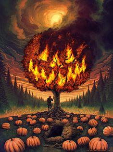 now-here: Jeffrey Smith / Ascending Storm halloween fondos Halloween Town, Halloween Kunst, Image Halloween, Halloween Artwork, Halloween Painting, Halloween Drawings, Halloween Images, Halloween Wallpaper, Halloween Horror