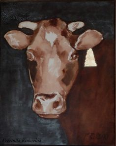 ********************ORIGINAL******************** Title: Gold Earring Portrait of cow Size: 9 x 12 inch = 24 x 30 cm Technique: mixed media: oil