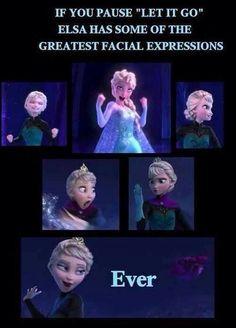 Love the faces. Elsa. Frozen. Disney.