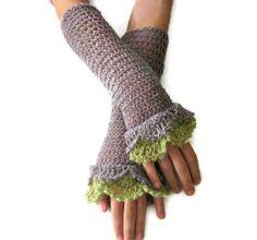 Handstulpen, Armstulpen, Stulpen, Grau,Grün, Taupe von lovelycrochet -Lovelyknitting auf DaWanda.com