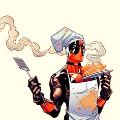 Waiting for Deadpool. Awfully wanna pancakes and his crazy humour)
