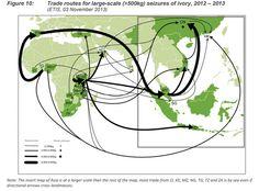 Routes commerciales de l'ivoire issu des grosses saisies (supérieures à 500 kilos), en 2012 et 2013.