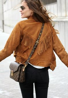 Lady Addict: Fringe Jacket + Louis Vuitton Bag