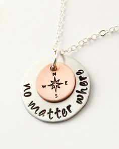 No Matter Where Necklace Hand Stamped Sisters Necklace    Best Friends Necklace Mother and Daughter Necklace by UniquelyImprint on Etsy https://www.etsy.com/listing/241477586/no-matter-where-necklace-hand-stamped