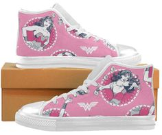 WONDER WOMAN Pink High Tops Gym Boots Canvas Womens Shoes Rockabilly   LOVE adding geeky touches to my wardrobe