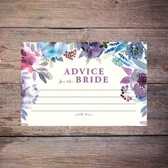 Flower Watercolor Bridal Shower Advice Cards  by LarissaKayDesigns