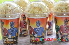 Power Rangers Samurai Birthday Party- Popcorn Party Cups-Birthday Party-Set of 8 on Etsy, $14.40