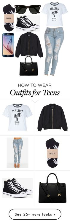 """Untitled #717"" by lovelylifebishh on Polyvore featuring New Look, Converse, Ray-Ban, Monki, Samsung and MICHAEL Michael Kors"