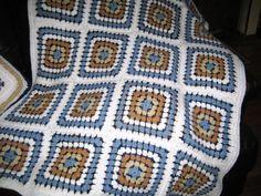 granny square, crochet blanket with pillowcase, afghan crochet, crocheted afghan and pillowcase, white