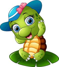 Illustration of Happy turtle with blue cap on the lotus leaf vector art, clipart and stock vectors. Cute Cartoon Pictures, Cartoon Pics, Cartoon Art, Cute Pictures, Happy Turtle, Turtle Love, Cartoon Mignon, Baby Animals, Cute Animals