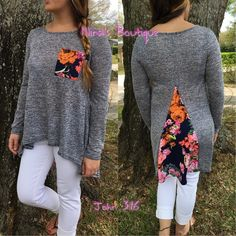 Lightweight knit tops Comfy two tone soft knit tops with floral contest front pocket and back details. This top is lightweight and perfect for any cool spring day  S(2/4) M(6/8) L(10/12) - Price is firm unless bundled Tops
