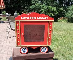 Little Free Library in Baraboo, Wisconsin #3563.  Located in Nanny Park, this LFL is modeled after a circus train in honor of the rich heritage of the Al. Ringling Circus and Circus World Museum here in Baraboo.  @Little Free Library
